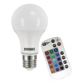 lampada led taschibra tkl rgb colorida com controle 9w bivolt e27 capa