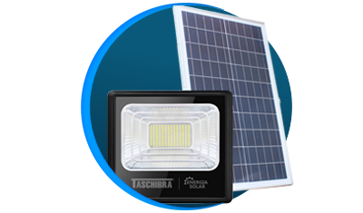 refletor taschibra led solar tr sun 40w preto descricao